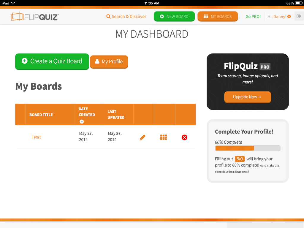 FlipQuiz me: A Jeopardy Style Board Game Creator