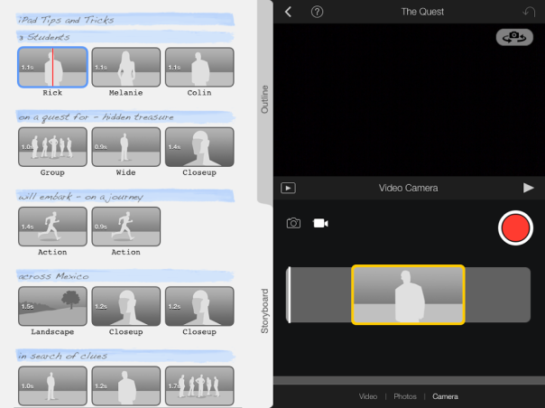 Storyboard of an iMovie trailer