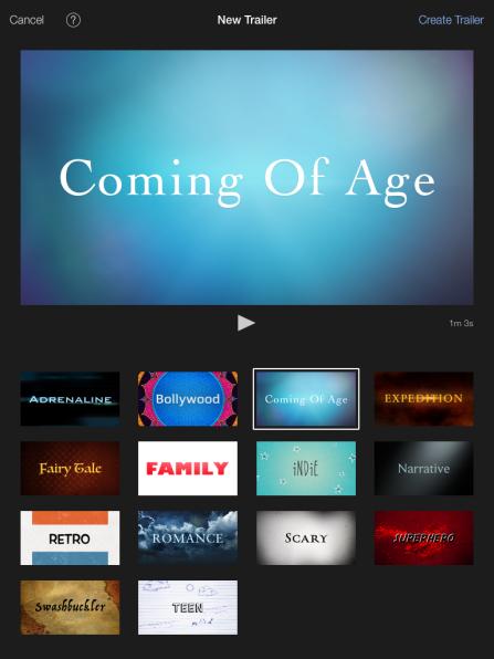 iMovie trailer options