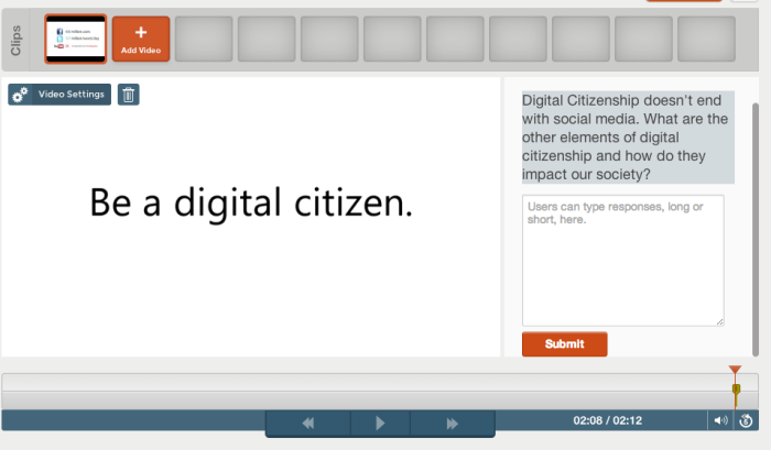 An example open response question in the Digital Citizenship tour