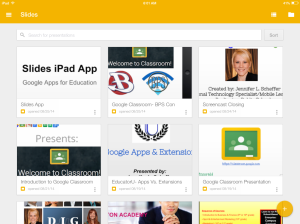 Grid view in the Slides app shows all of your presentations.