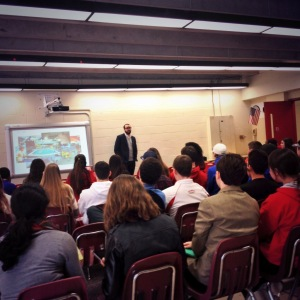 Michael addressing BHS students about their digital footprints