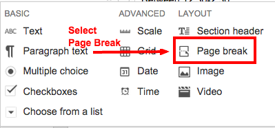 "Select ""add item"" and then select ""page break"""