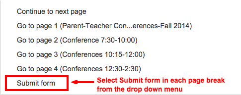 Parents will submit the form after making their conference time selection