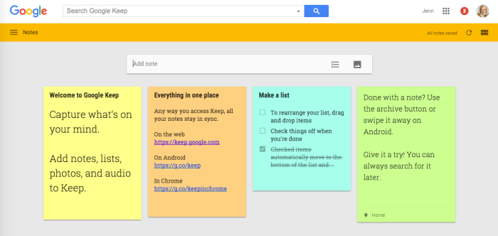 Web version of Google Keep.